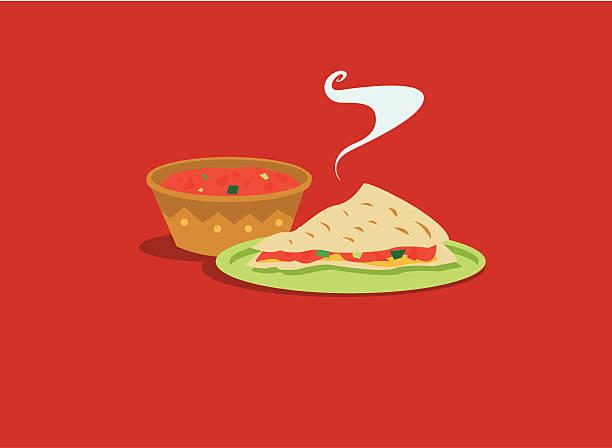 bildbanksillustrationer, clip art samt tecknat material och ikoner med mexican food: salsa and quesadilla - texmexsoppa