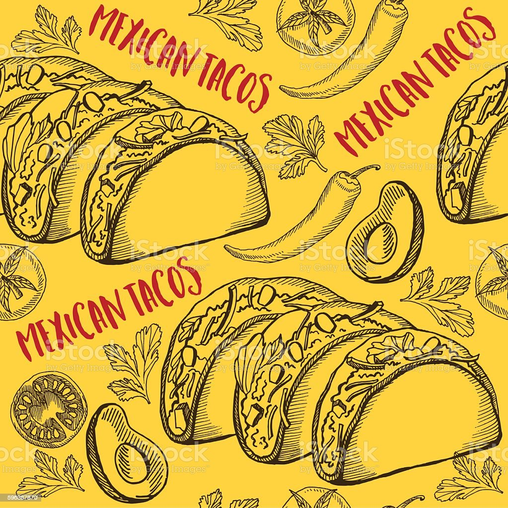 mexican food seamless pattern background のイラスト素材 596387870