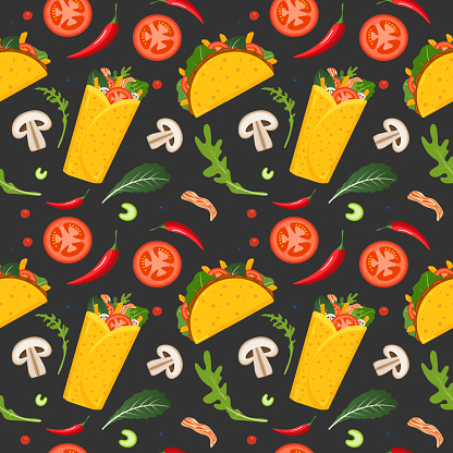 Mexican food and drink stock illustrations