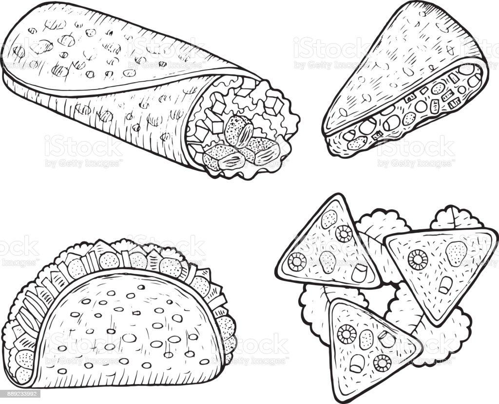 Kleurplaten Eten.Mexicaans Eten Set Pagina Kleurplaten Voor Volwassenen
