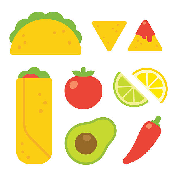 Mexican food set Mexican food set in flat vector cartoon style. Taco and burrito, nachos with salsa, traditional ingredients like tomato, avocado and chili pepper. avocado clipart stock illustrations