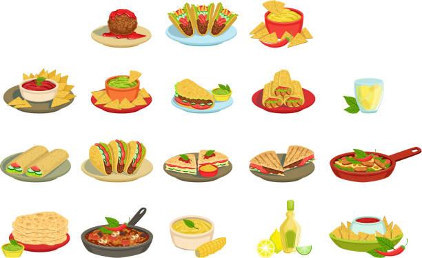 ilustrações, clipart, desenhos animados e ícones de jogo mexicano da ilustração dos pratos da assinatura do alimento - guacamole