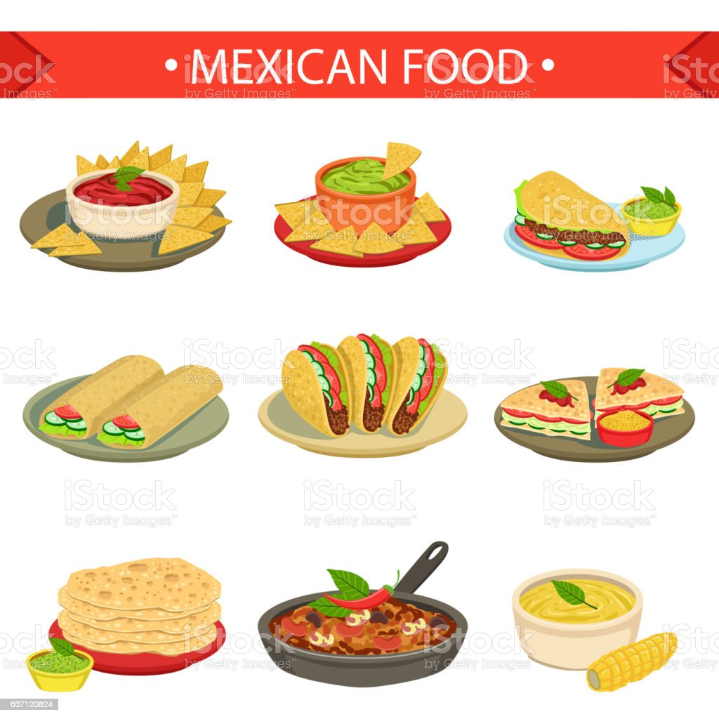 Mexican Food Signature Dishes Illustration Set - ilustración de arte vectorial