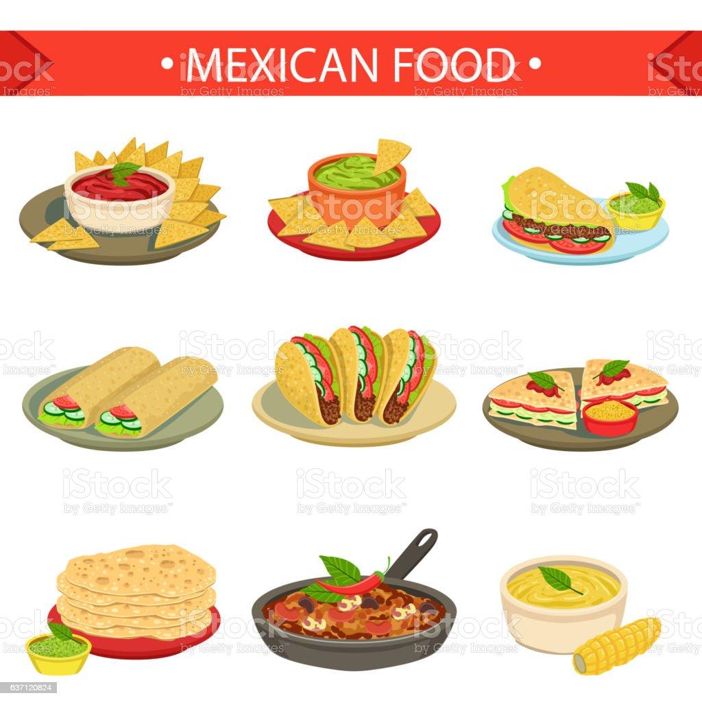 Mexican Food Signature Dishes Illustration Set vector art illustration