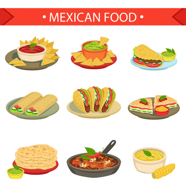 ilustraciones, imágenes clip art, dibujos animados e iconos de stock de mexican food signature dishes illustration set - comida mexicana