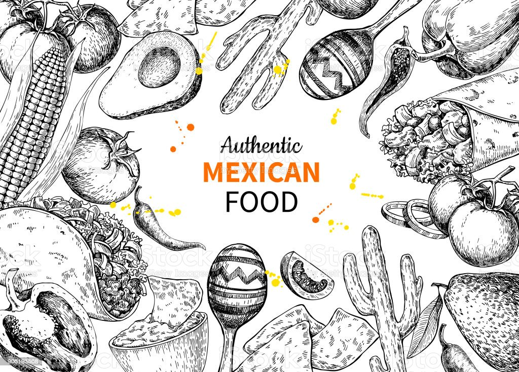 Mexican food sketch label in frame. Vector Traditional cuisines drawing burito, taco, nachos vector art illustration