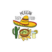 Mexican food symbol. National cuisine set. Mexican dish doodles sign. Fastfood icons with musical instrument and sombrero hat.