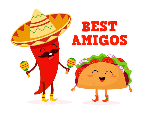 mexican food. taco and pepper. stylized characters. vector illustration. - taco stock illustrations, clip art, cartoons, & icons