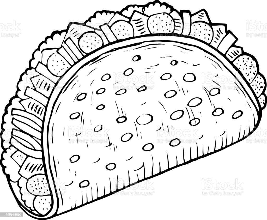 Mexican Food Taco Coloring Page For Adults Ink Artwork ...