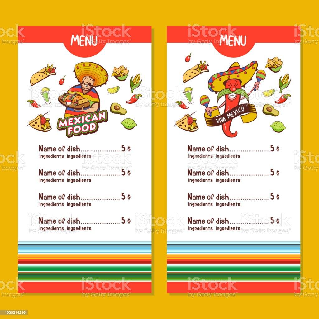 Ilustracion De Comida Mexicana El Diseno Del Menu Del Restaurante Mexicano Ilustracion De Vector Y Mas Vectores Libres De Derechos De Aguacate Istock