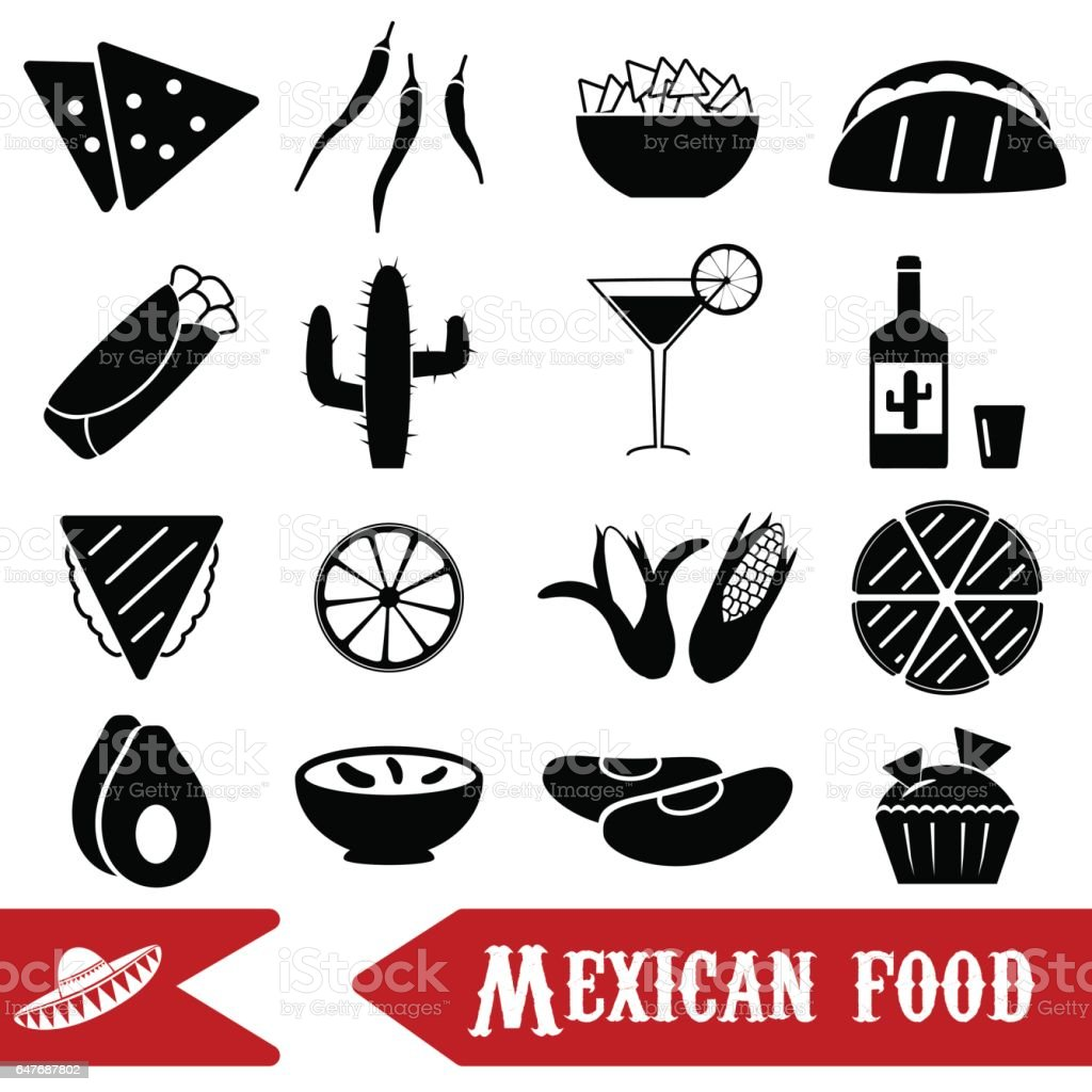 mexican food theme set of simple icons eps10 vector art illustration