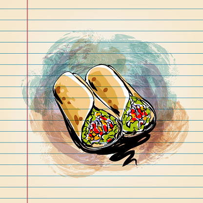 Mexican Food Tortilla Roll Drawing on Ruled Paper