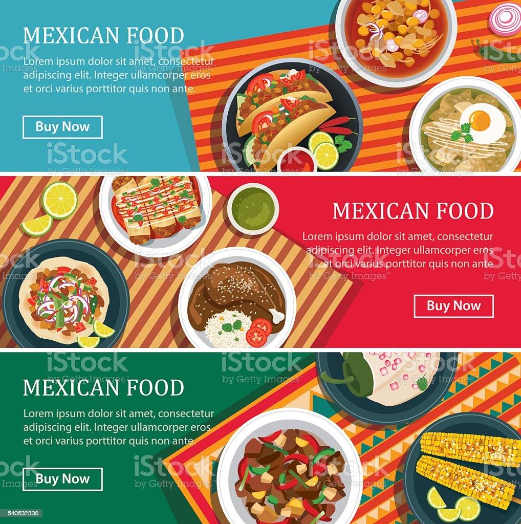 Comida mexicana banner web design 2D - ilustração de arte em vetor
