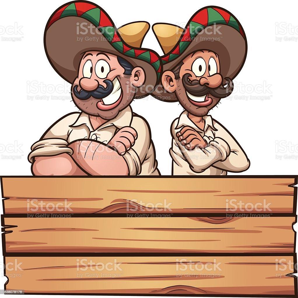 Mexican friends vector art illustration
