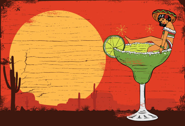A Mexican girl in a margarita cocktail, vector No layers margarita stock illustrations