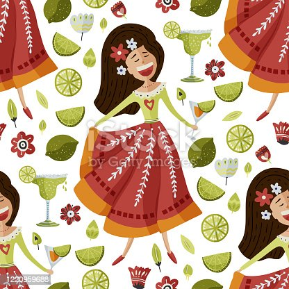 istock Mexican girl seamless vector pattern. 1220959688