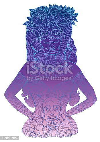 istock Mexican girl with calavera makeup with flowers in her hair holding sugar skull 670597052