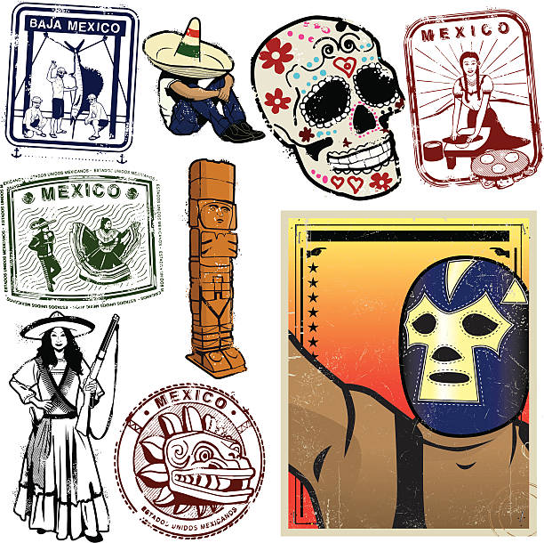 mexikanische grafik-kollektion - tortillas stock-grafiken, -clipart, -cartoons und -symbole