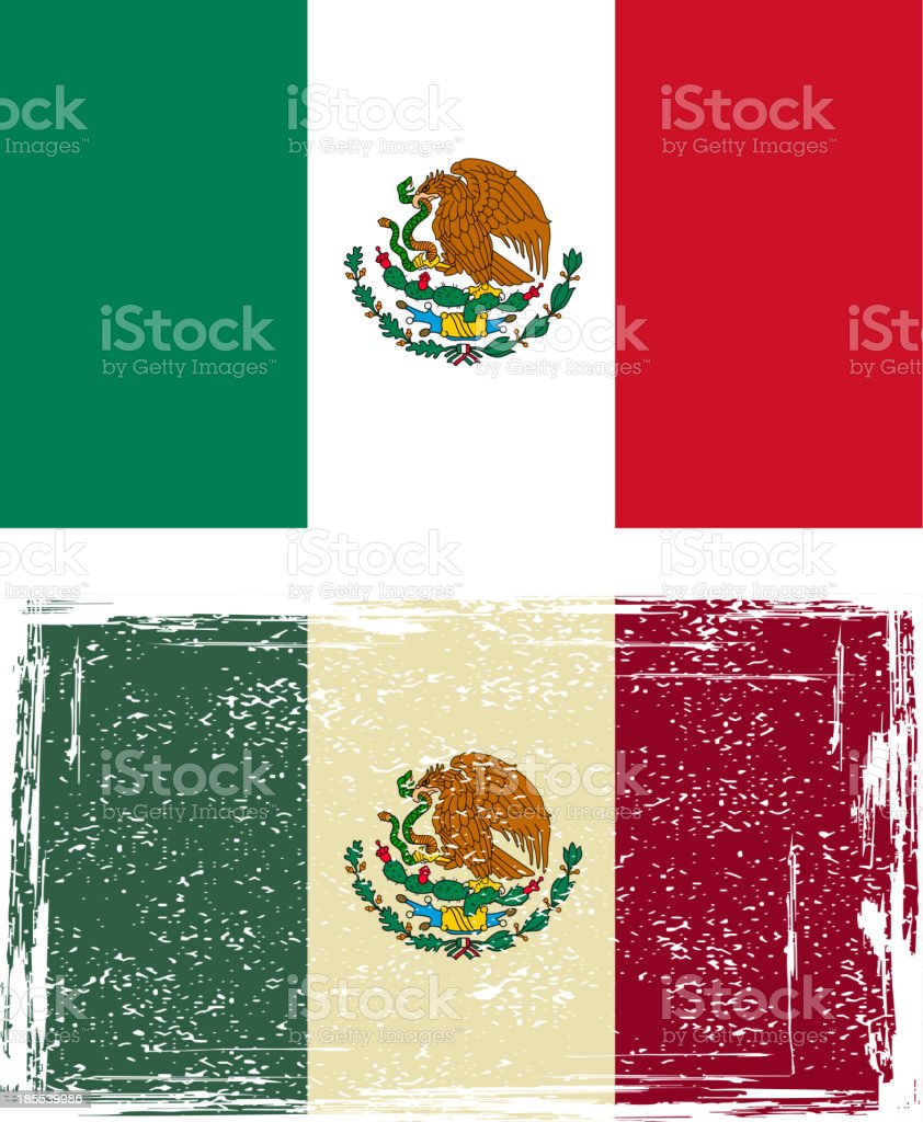 Mexican grunge flag royalty-free stock vector art