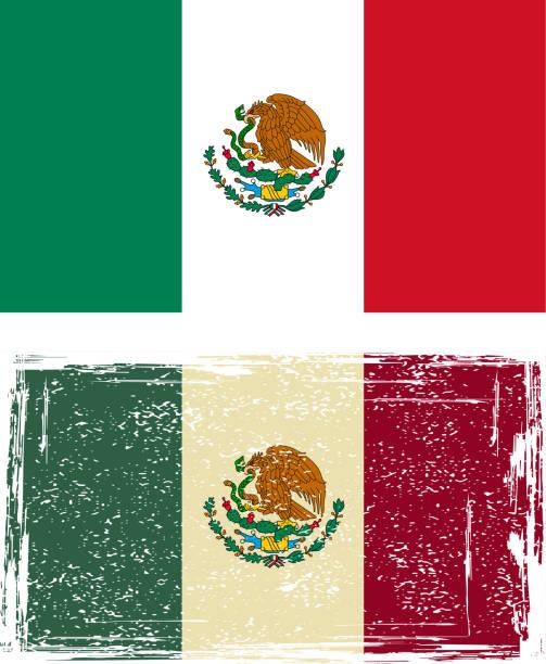 Mexican grunge flag vector art illustration