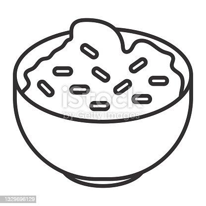 istock Mexican guacamole dip in bowl line art icon 1329696129