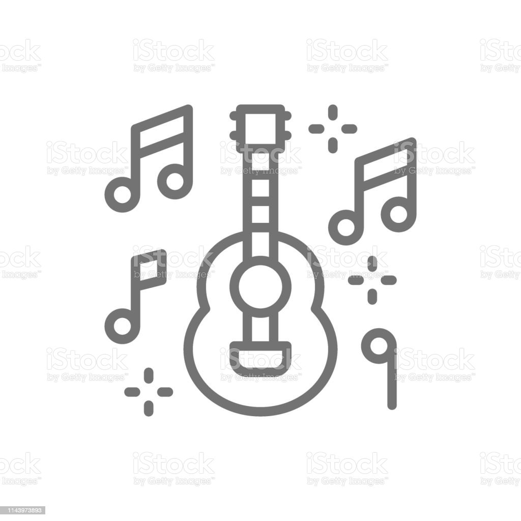 Mexican Guitar Music Mariachi Line Icon Isolated On White