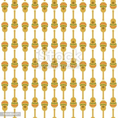 istock Mexican guitar seamless pattern, flat vector stock illustration with musical instrument as a symbol of mexic 1304804071