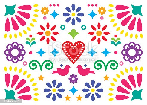 istock Mexican happy folk art vector greeting card or party invitation design, colorful pattern with flowers and birds inspired by traditional ornaments from Mexico 1266773671
