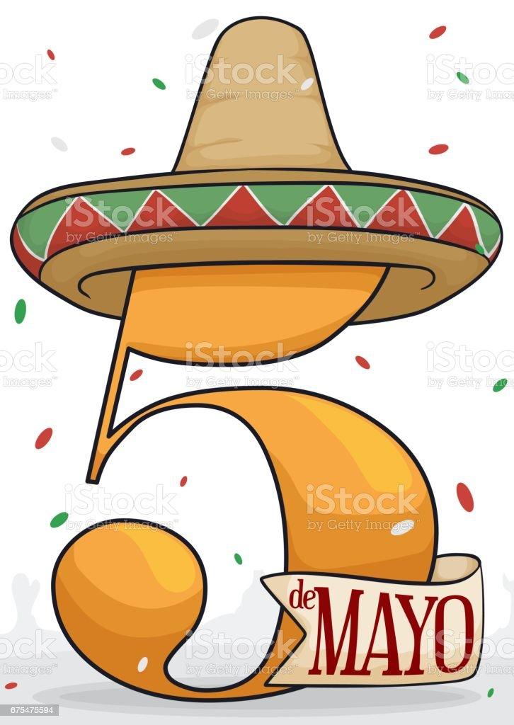Sombrero mexicano y Confetti festivo para la celebración del Cinco de Mayo  ilustración de sombrero mexicano 5943dd339b1