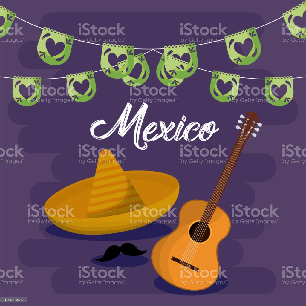 Mexican Hat And Guitar With Banner Pennant Vector Design Stock Illustration Download Image Now Istock