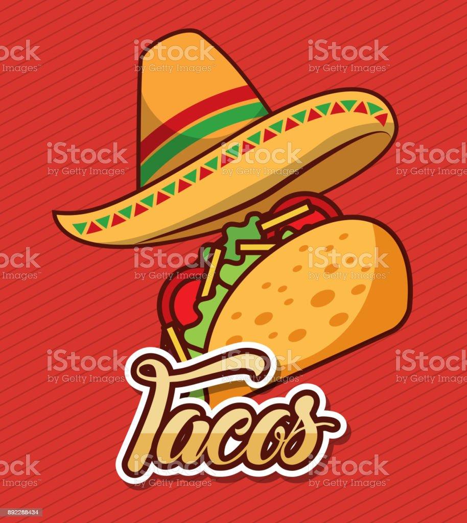 157d9a5018146 sombrero y taco rápido comida mexicana tradicional ilustración de sombrero  y taco rápido comida mexicana tradicional