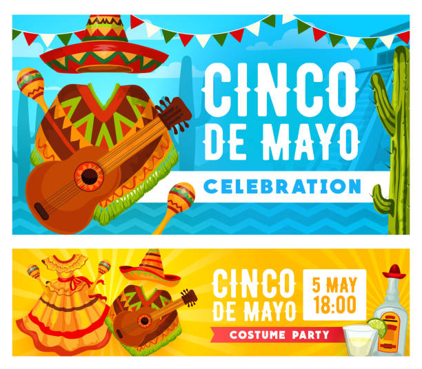Mexican hat, guitar, maracas. Cinco de Mayo Cinco de Mayo holiday mariachi costume party vector invitations. Mexican fiesta sombrero, guitar and maracas, tequila, margarita, cactus and lime, Latin American festival dress and bunting garland cinco de mayo stock illustrations