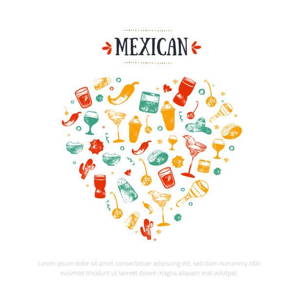 mexikanische herz banner. -food-restaurant menü, template-design mit skizze ikonen der chili-schote, sombrero, tacos, nacho, burrito. - mexikanisches essen stock-grafiken, -clipart, -cartoons und -symbole