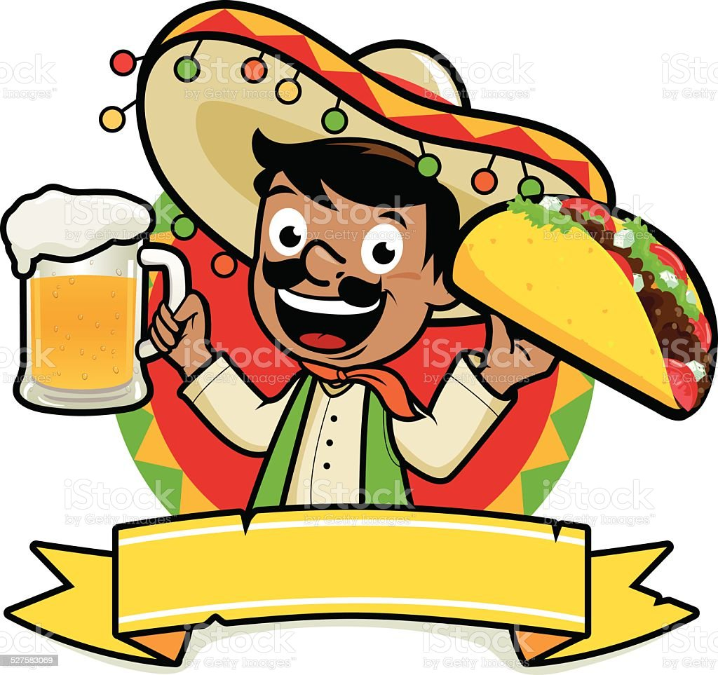 Mexican holding a cold beer and a taco vector art illustration