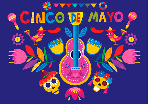 Mexican holiday 5 may Cinco De Mayo. Mexican Holiday banner, poster and party invitation design with traditional Mexican guitar, symbols, skull and flowers