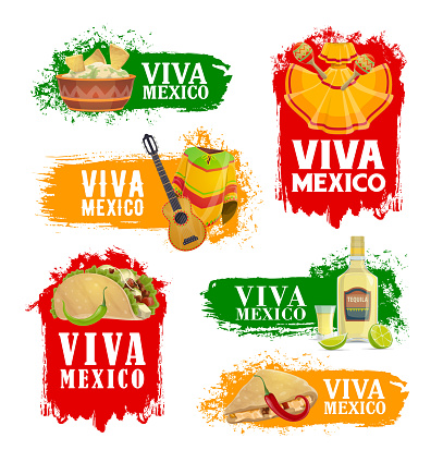 Mexican holiday food and drink icons, Viva Mexico