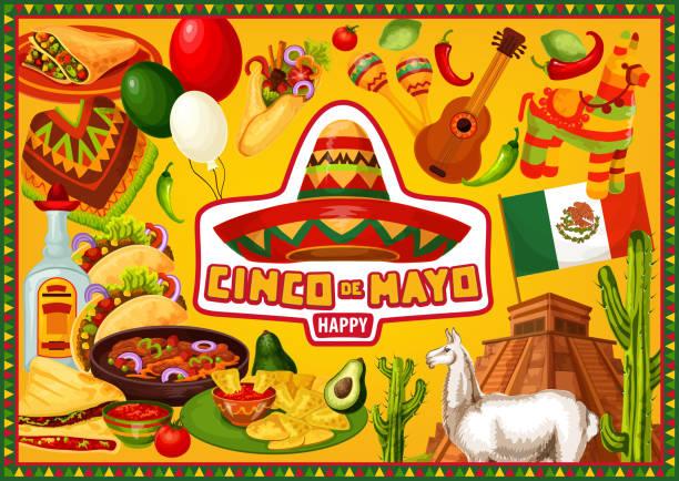bildbanksillustrationer, clip art samt tecknat material och ikoner med mexikanska semester, glad cinco de mayo hälsningar - cactus lime