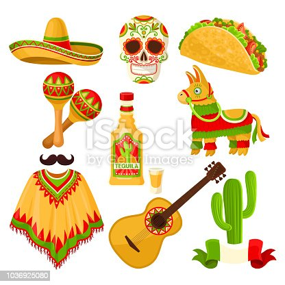 Mexican holiday symbols set, sombrero hat, sugar skull, taco, maracas, pinata, tequila bottle, poncho, acoustic guitar vector Illustrations isolated on a white background.