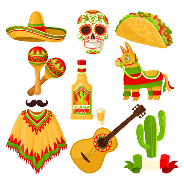 mexican holiday symbols set, sombrero hat, sugar skull, taco, maracas, pinata, tequila bottle, poncho, acoustic guitar vector illustrations on a white background - taco stock illustrations, clip art, cartoons, & icons