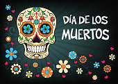 Mexican holiday vector illustration for Day of the dead or Dia de los muertos
