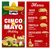 Mexican holiday vector menu, Cinco de Mayo holidays meals tacos, burroto, tortilla and enchilados with tequila alcohol drink. Cartoon menu with sombrero, flag, jalapeno pepper, Mexican food dishes