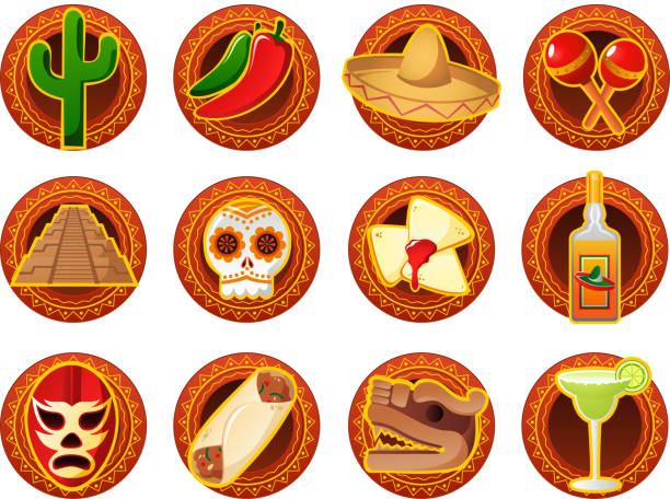 bildbanksillustrationer, clip art samt tecknat material och ikoner med mexican icon set cactus chilli mariachi maraca pyramids skeleton - cactus lime