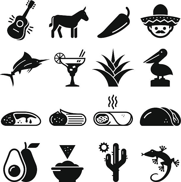 Mexican Icons - Black Series Mexico icon set. Professional vector icons for your print project or Web site. See more in this series.  avocado clipart stock illustrations
