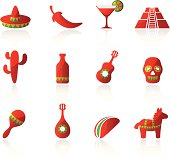 Set of Mexican Icons. Resolution JPG,CS5 AI and Illustrator 0.8 EPS included.