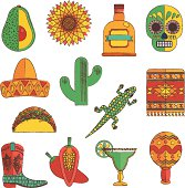 set of mexican icon decorations in hand drawn style, isolated on white