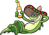 Mexican iguana holding a beer. Vector clip art illustration with simple gradients. All in a single layer.