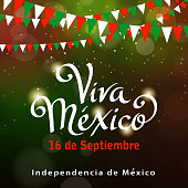 Celebrate mexican independence bunting and background.