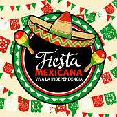 Celebrate Independence Day in Mexico with with sombrero and maracas on the colorful papel picado background on Septembre 16 for the fiesta
