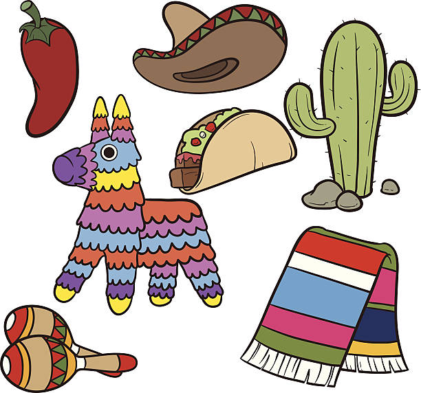 Mexican items Cartoon Mexican items.Vector clip art illustration. Each element on a separate layer. serape stock illustrations
