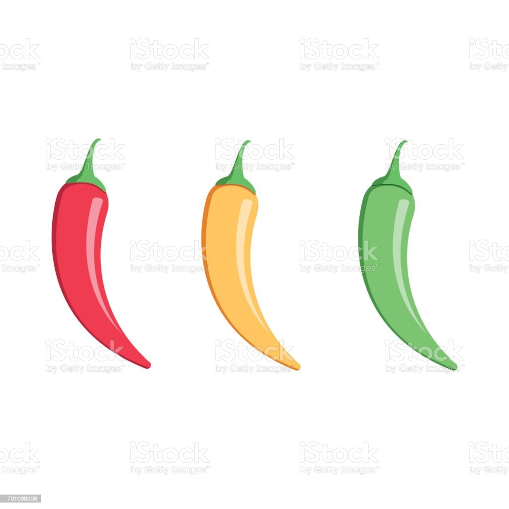 Mexicaanse jalapeno de pictogram van de vector van het hot chili peper op witte achtergrond. Kleuren hete chilipepers set. - Royalty-free Blad vectorkunst